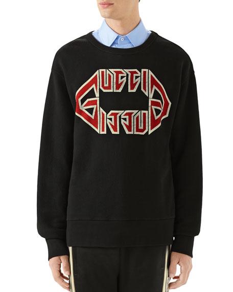 Gucci Men's Logo-Front Graphic Sweatshirt