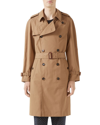 Men's Embroidered-Back Twill Trench Coat