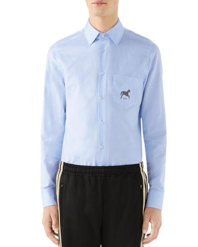 Men's Horse-Logo Poplin Sport Shirt