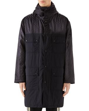 afca5bb5 Gucci Men's Logo Jacquard Long Anorak Coat