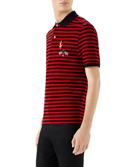 Gucci Men's Striped Pique Polo Shirt with Patches