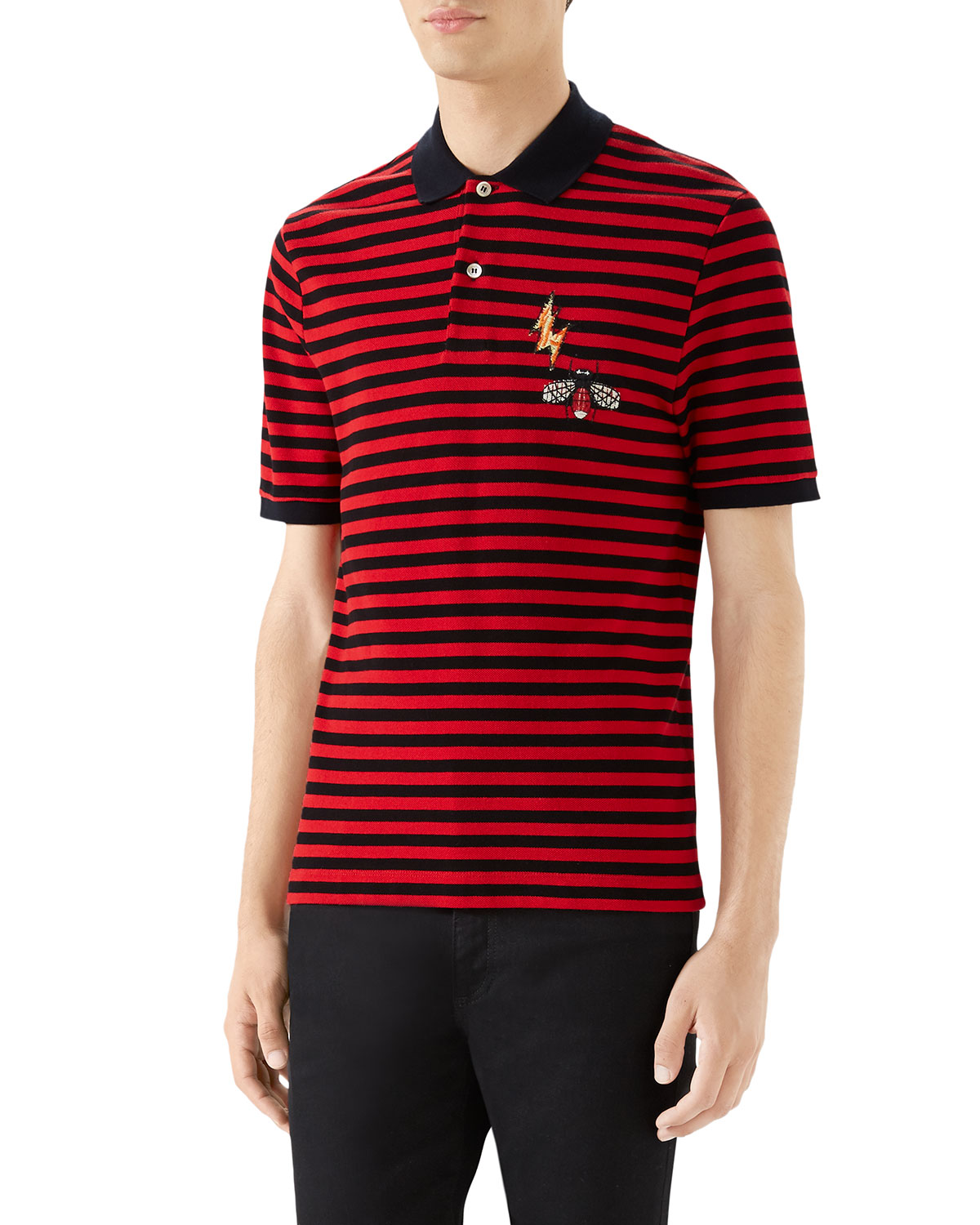5fbc9d8ef60 Gucci Men s Striped Pique Polo Shirt with Patches
