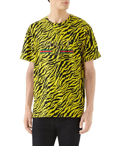 Gucci Men's Tiger Logo T-Shirt