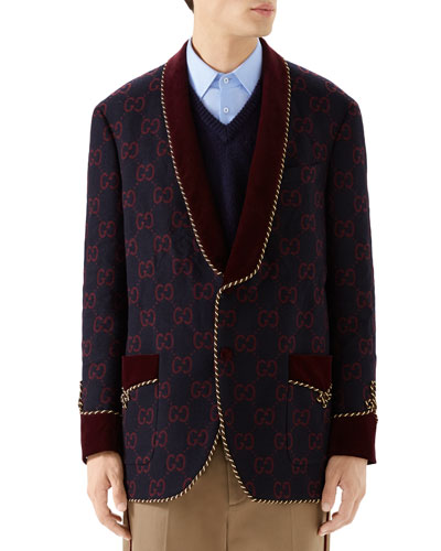 Men's GG Shawl-Collar Rope-Trim Jacket