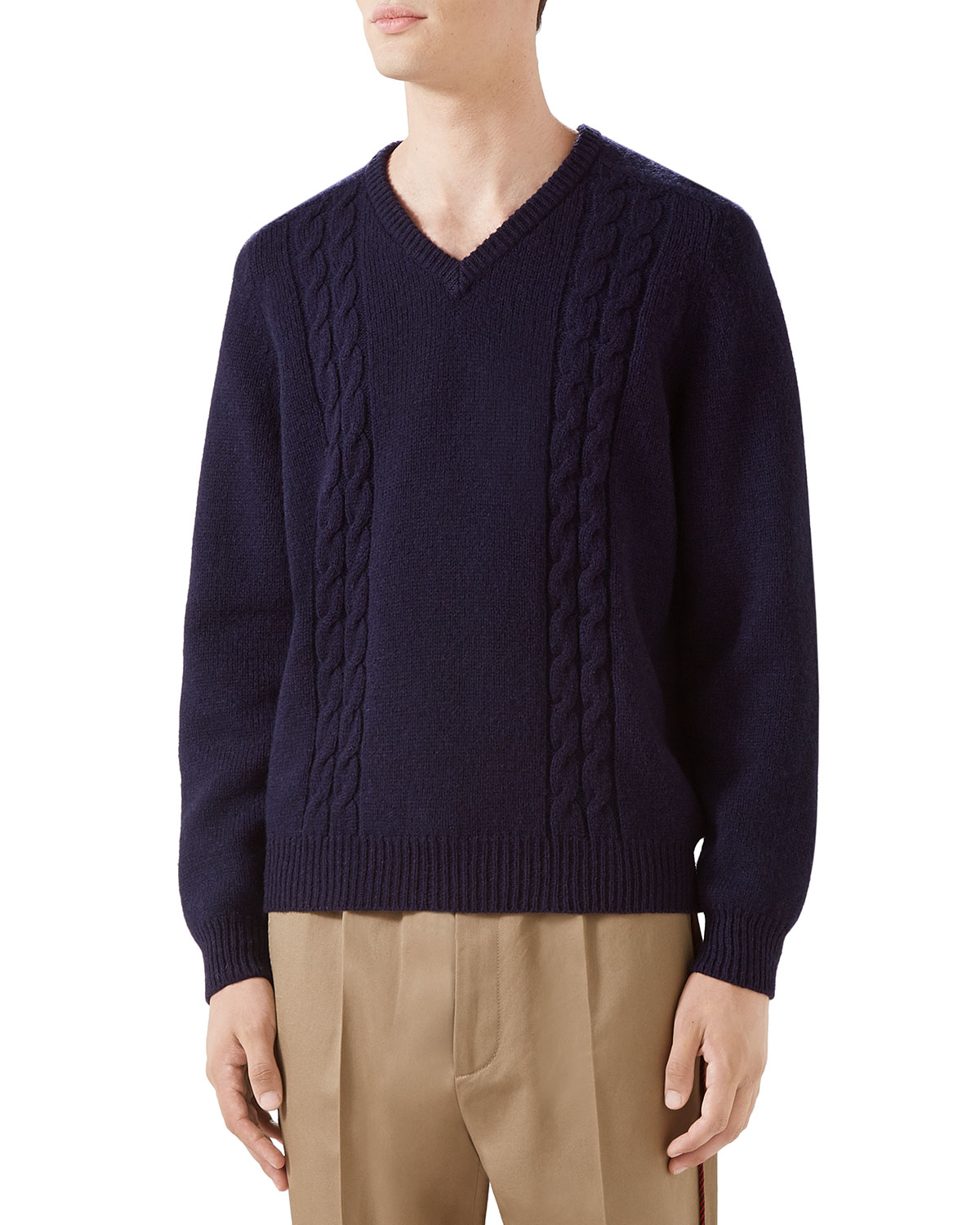 Gucci Mens Cashmere Cable Knit Sweater Neiman Marcus