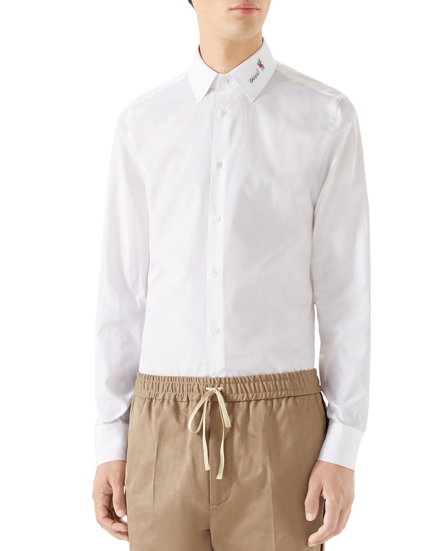 Gucci Mens Logo Embroidered Collar Poplin Sport Shirt Neiman Marcus