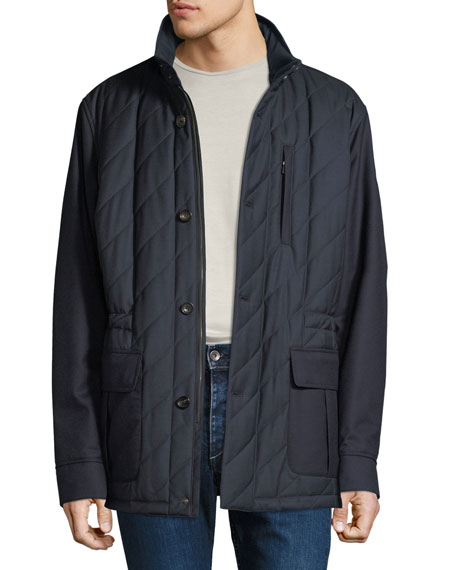 Luciano Barbera Men's Quilted Wool Field Jacket with