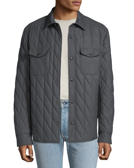 Luciano Barbera Men's Quilted Shirt Bomber Jacket