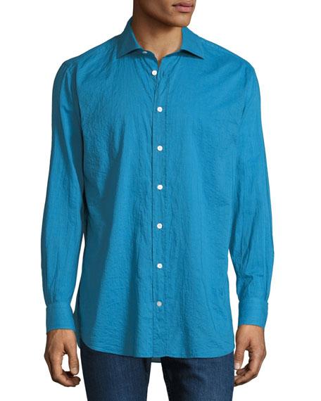 LUCIANO BARBERA Men'S Long-Sleeve Aqua Cotton Shirt in Navy