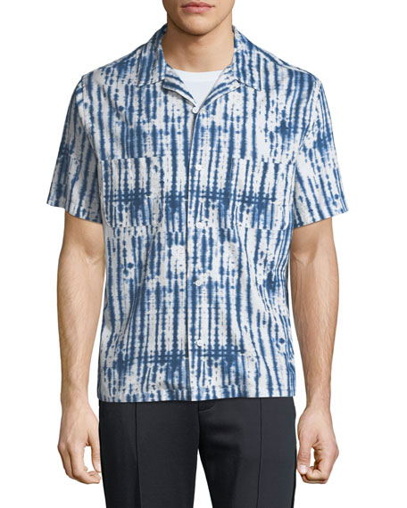 Vince Men's Shibori Printed Cabana Shirt