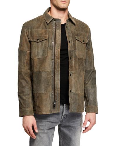 Men's Patchwork Crackle Goat Leather Jacket