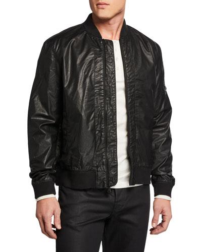 Men's Zigzag Coated Twill Bomber Jacket