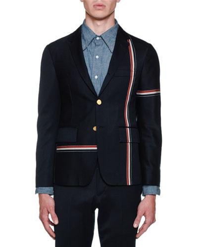 Men's Unconstructed Allover Stripe Sportcoat