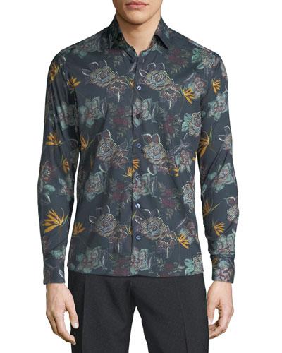 Men's Oversize Floral Woven Sport Shirt
