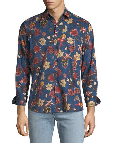 Men's Floral-Print Woven Sport Shirt