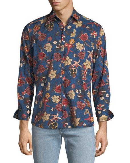 Etro Men's Floral-Print Woven Sport Shirt