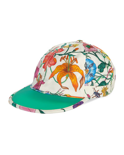 Men's Flora-Print Silk Baseball Hat