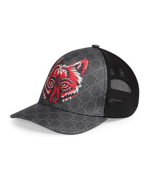b27f028bd71 Gucci Men s Wolf Head GG-Supreme Baseball Cap