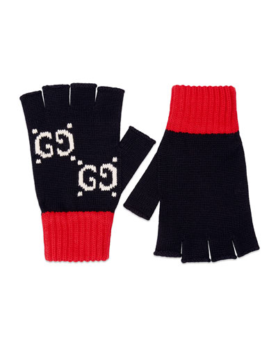 Men's Interlocking G & Stripe Knit Fingerless Gloves