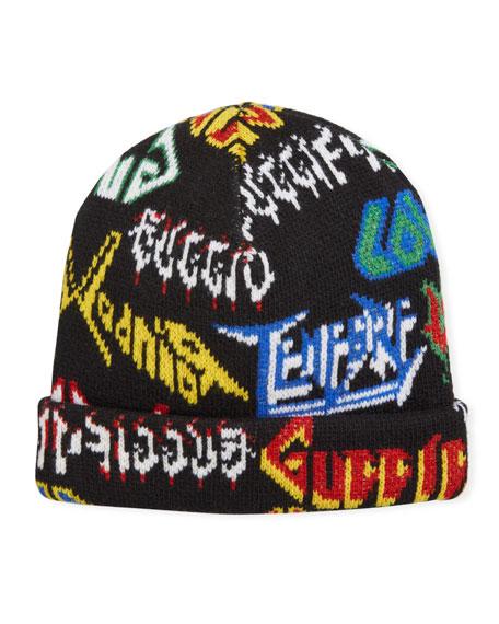 Gucci Men's Metal Logo Knit Beanie Hat