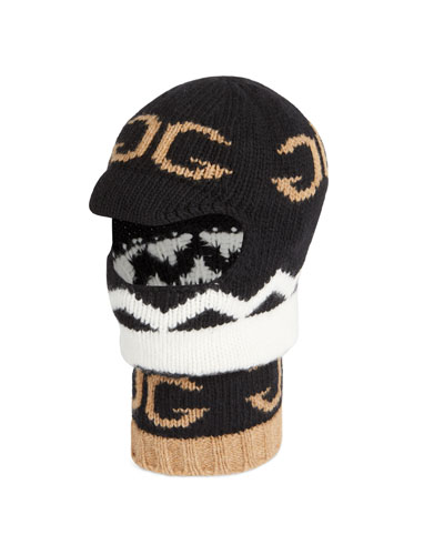 Men's Zigzag Mirrored-GG Balaclava Hood/Hat