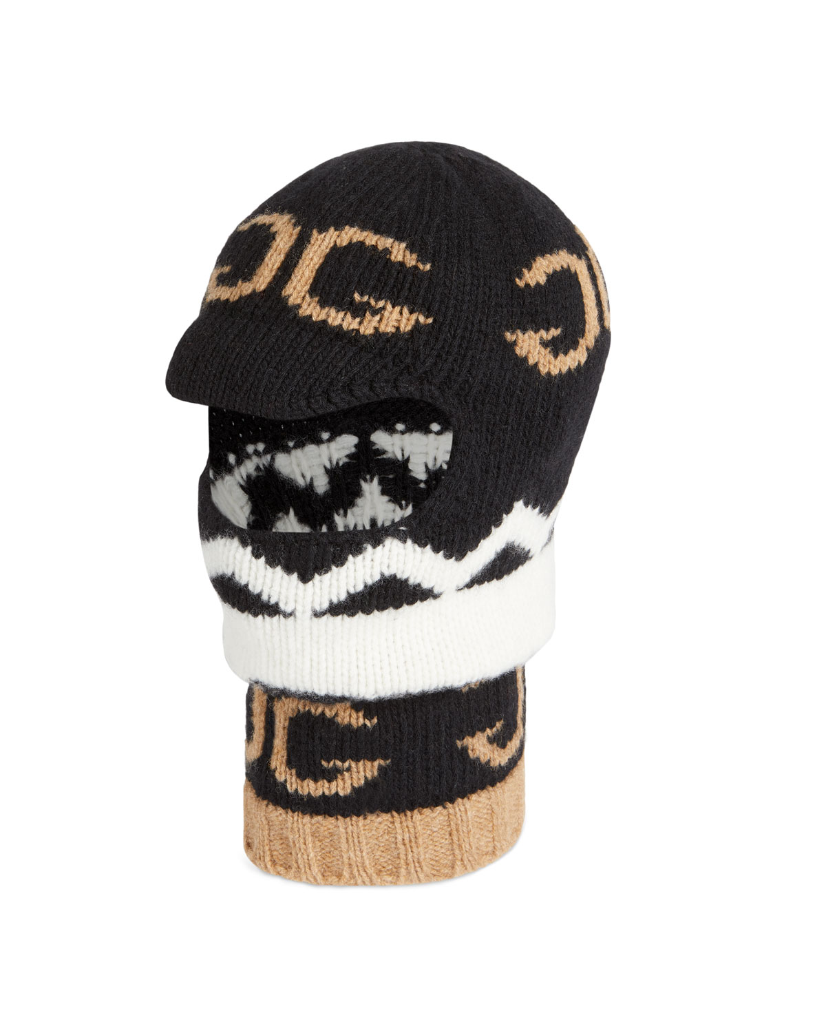 ae61eccf5b7 Gucci Men s Zigzag Mirrored-GG Balaclava Hood Hat