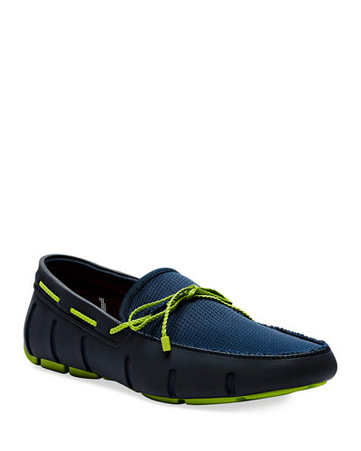 Mesh & Rubber Braided-Lace Boat Shoes