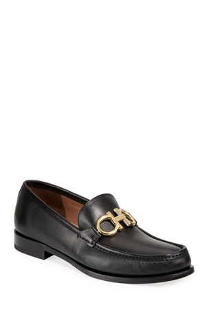 Salvatore Ferragamo Men's Leather Twisting Gancini Loafers