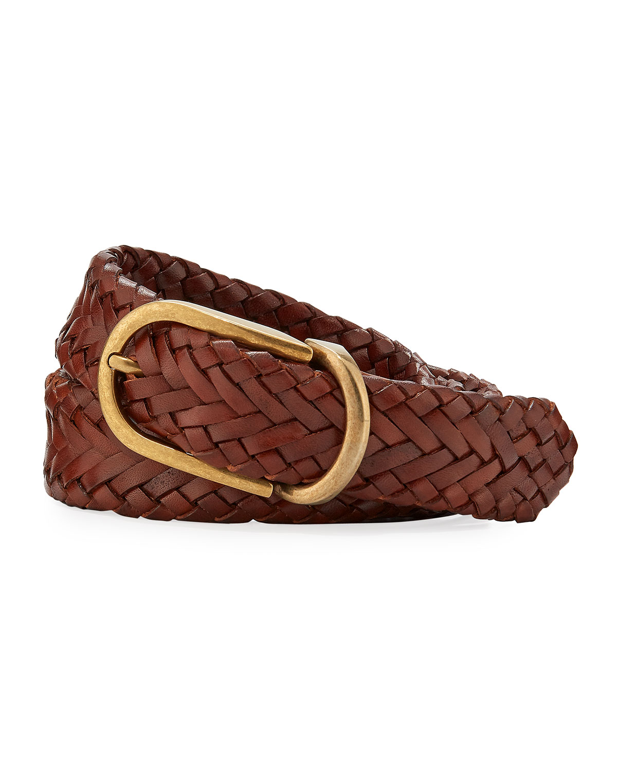 Brunello Cucinelli Men's Brown Braided Leather Belt