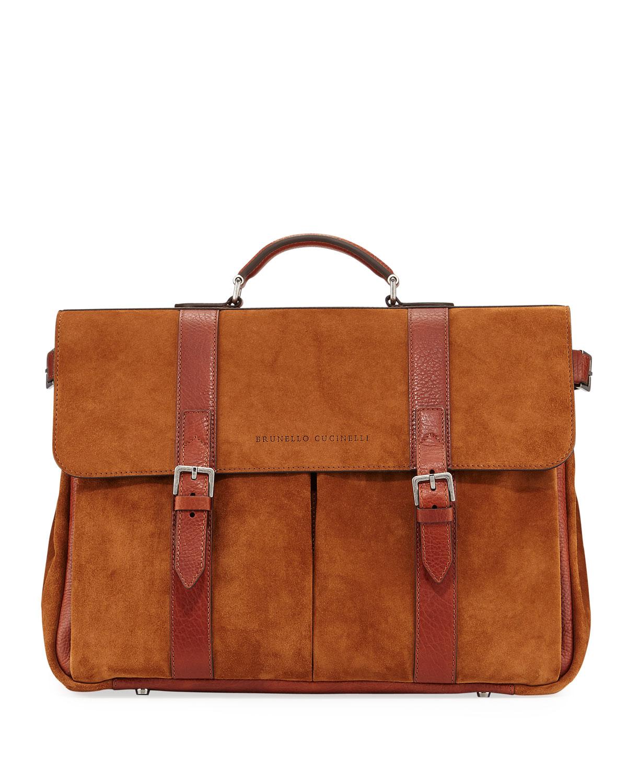 Brunello Cucinelli Men's Leather Flap-Top Briefcase