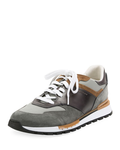 Men's Suede and Leather Running Sneakers