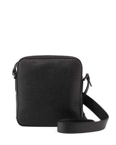 Men's Pelle Tessuto Reporter Crossbody Bag
