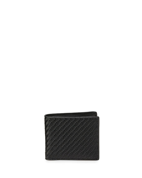 Ermenegildo Zegna Men's Pelle Tessuta Woven Leather Bi-Fold