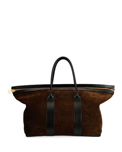 Men's Zip Travel Suede Bag