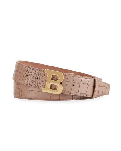 Men's B Buckle Snake-Embossed Belt