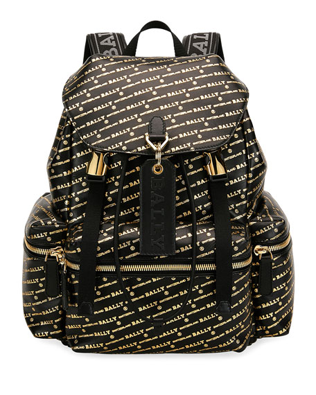 Bally Men's Logo-Print Leather Backpack
