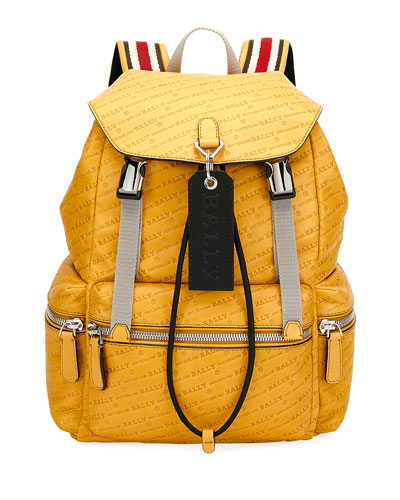 Men's Logo-Print Faux-Leather Backpack