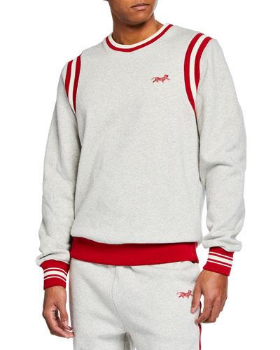 Men's Contrast-Trim Varsity Sweatshirt