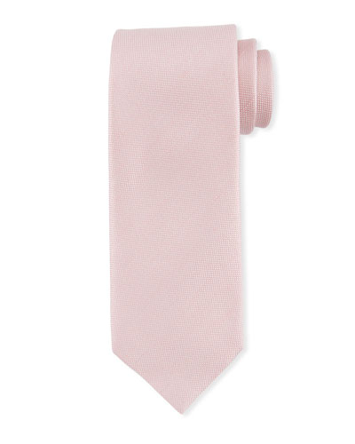 Textured Solid Silk/Linen Tie  Pink