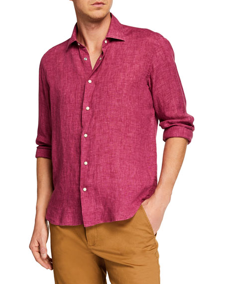 CULTURATA Men'S Extra Soft Linen Sport Shirt in Fuchsia