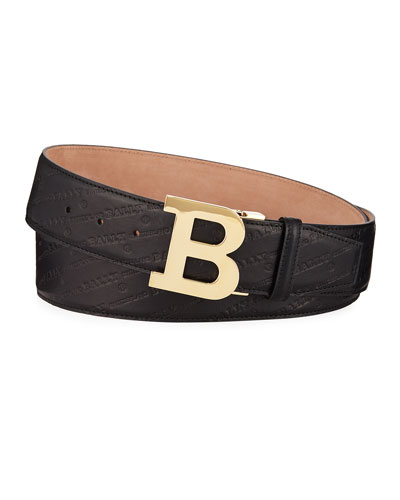 Men's Stamped Leather Belt, Black