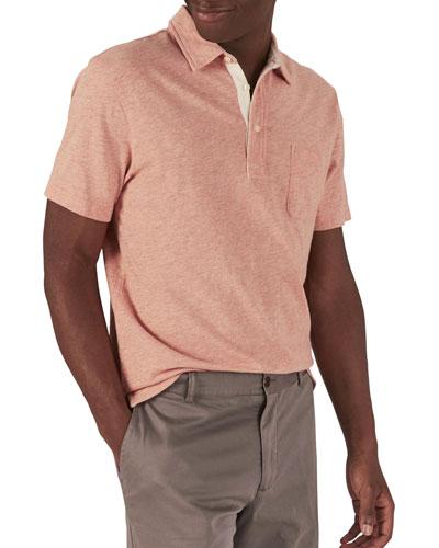 Men's Bleecker Heathered Short-Sleeve Polo Shirt with Pocket  Orange
