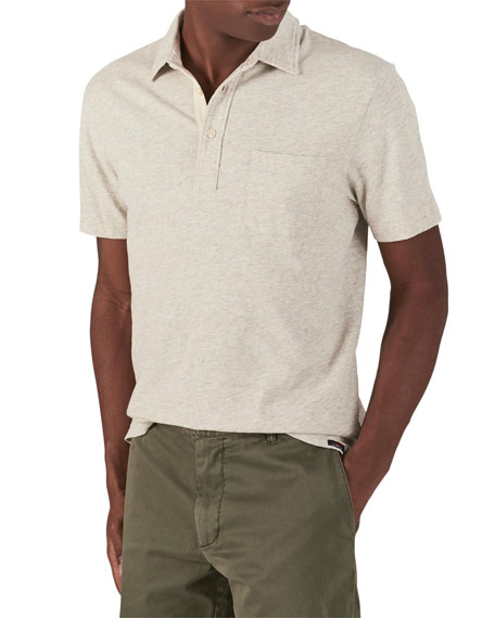 Faherty Tops MEN'S BLEECKER HEATHERED SHORT-SLEEVE POLO SHIRT WITH POCKET