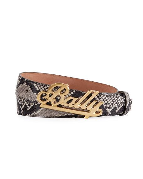 Bally Men's Swoosh Snake-Print Leather Belt