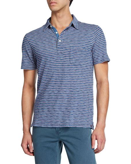 Faherty Men's Feeder-Stripe Polo Shirt with Pocket