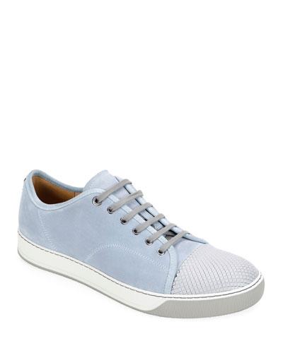 Men's Embossed Cap-Top Suede Sneakers