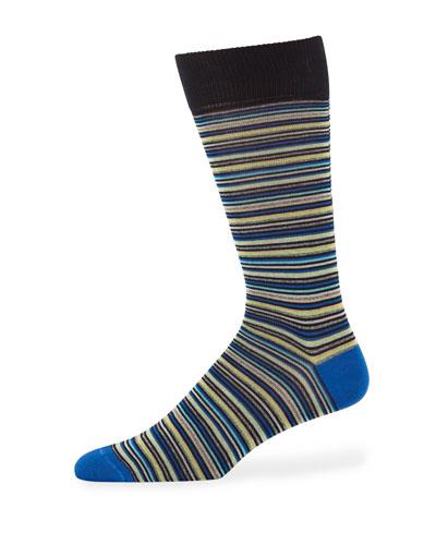 Men's Multi Micro-Stripe Mercerized Cotton Socks