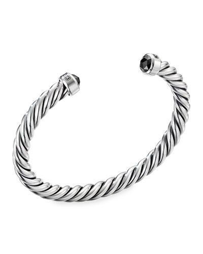 Men's Cable Classic Cuff Bracelet w/ Black Diamonds