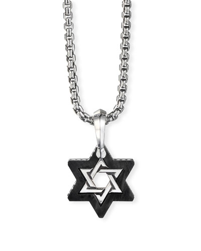 Men's Forged Carbon Star of David Pendant