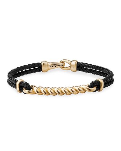 Men's Bucktwist Cable ID Leather Bracelet